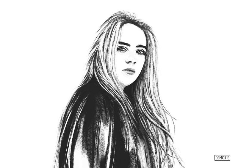 Billie Eilish - Digital Portrait Drawing