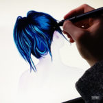 Blue hair girl drawing