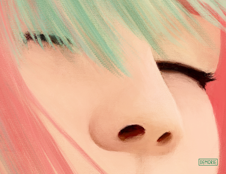Closeup Colorful Portrait Painting