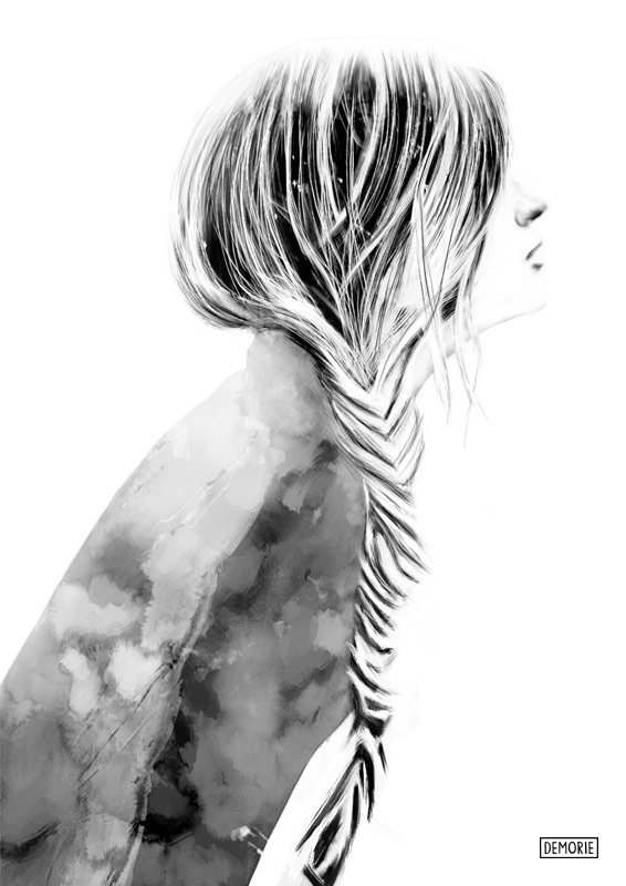 In your Thoughts - Digital Portrait Drawing