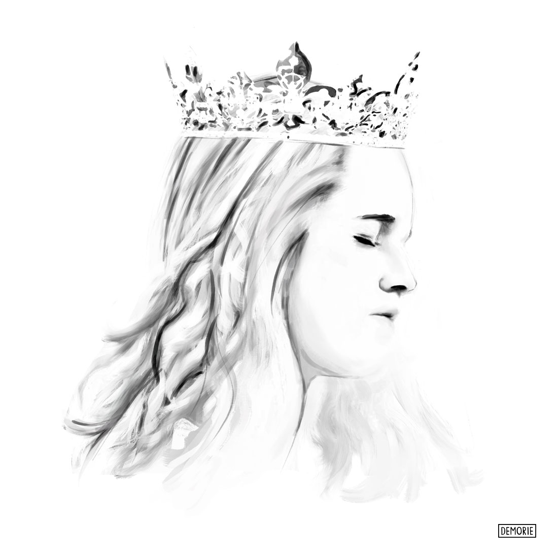 Crown girl - Digital Portrait Drawing