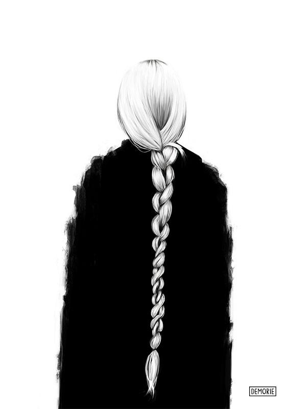 Long hair - Digital Portrait Drawing