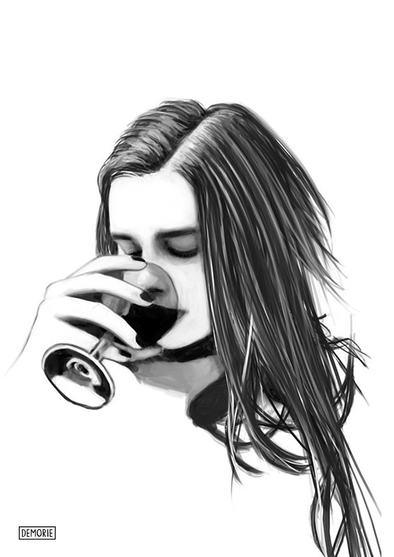 Girl drinking - Digital Portrait Drawing