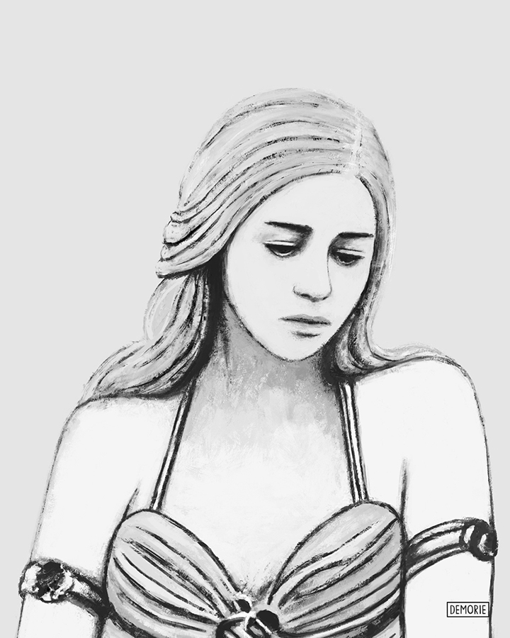 Digital Portrait Drawing - Sad Daenerys - GOT