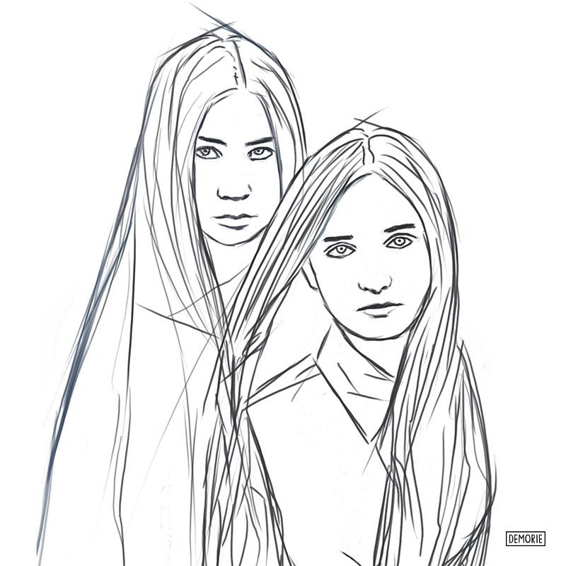 Two Girls - Digital Portrait Drawing