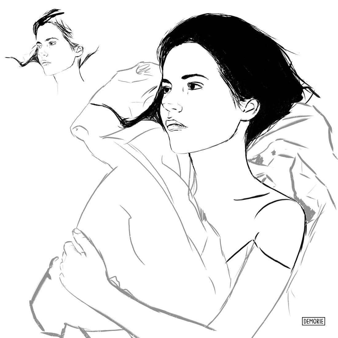 Sleeping - Digital Portrait Drawing