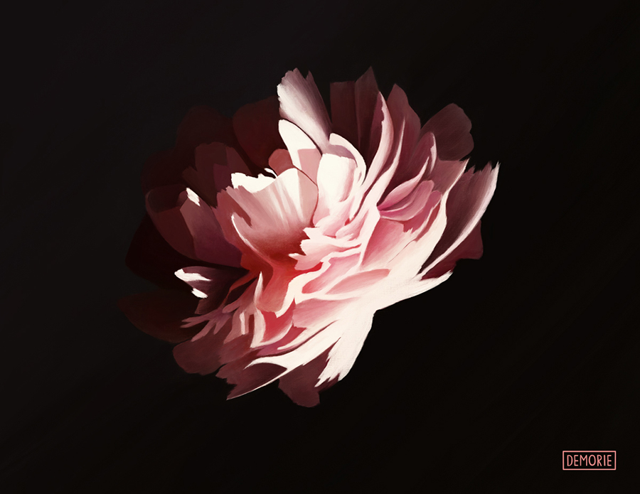 Glowing in the Dark I - Digital Flower art