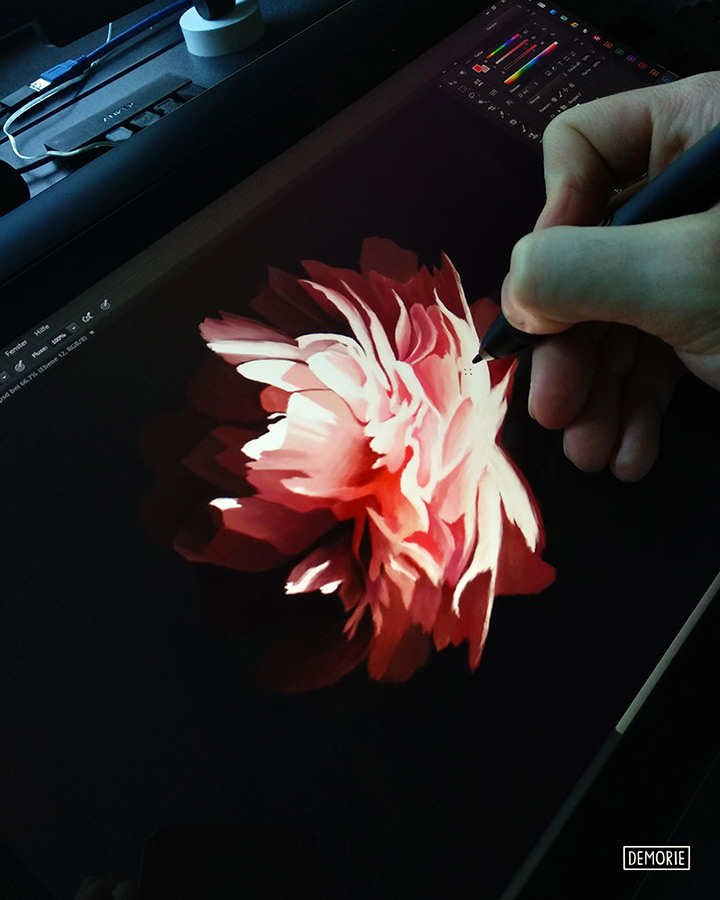 Glowing in the Dark - Rose Painting in Progress