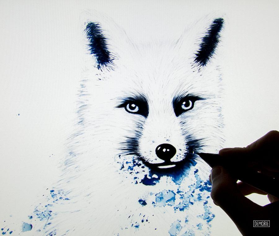Snowfox Animal Digital Painting